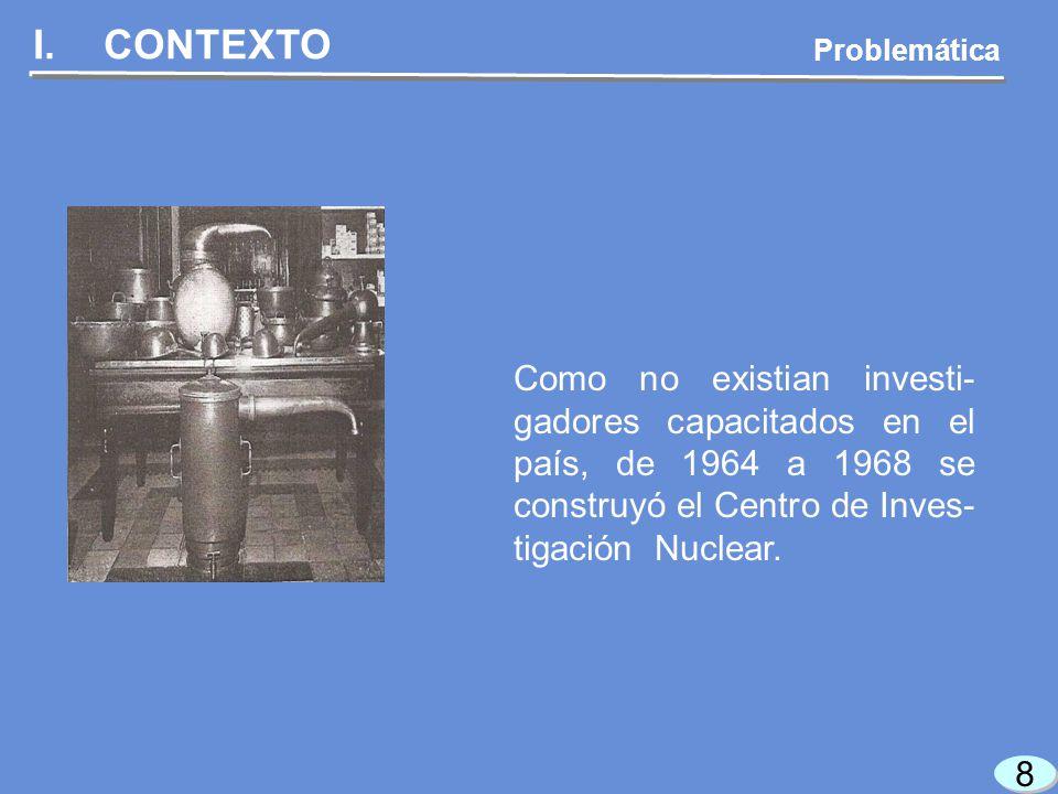 9 9 I.CONTEXTO Problemática Al inicio de los setentas existía una severa desar- ticulación entre la inves- tigación nuclear, la industria eléctrica y la educación.