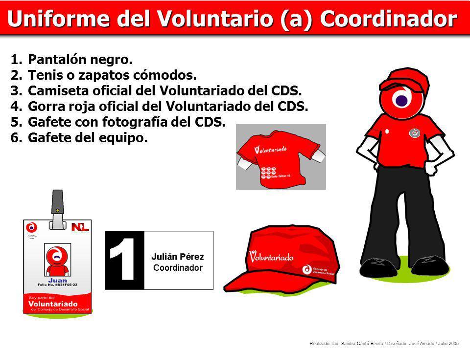 Uniforme del Voluntario (a) Coordinador 1.Pantalón negro. 2.Tenis o zapatos cómodos. 3.Camiseta oficial del Voluntariado del CDS. 4.Gorra roja oficial
