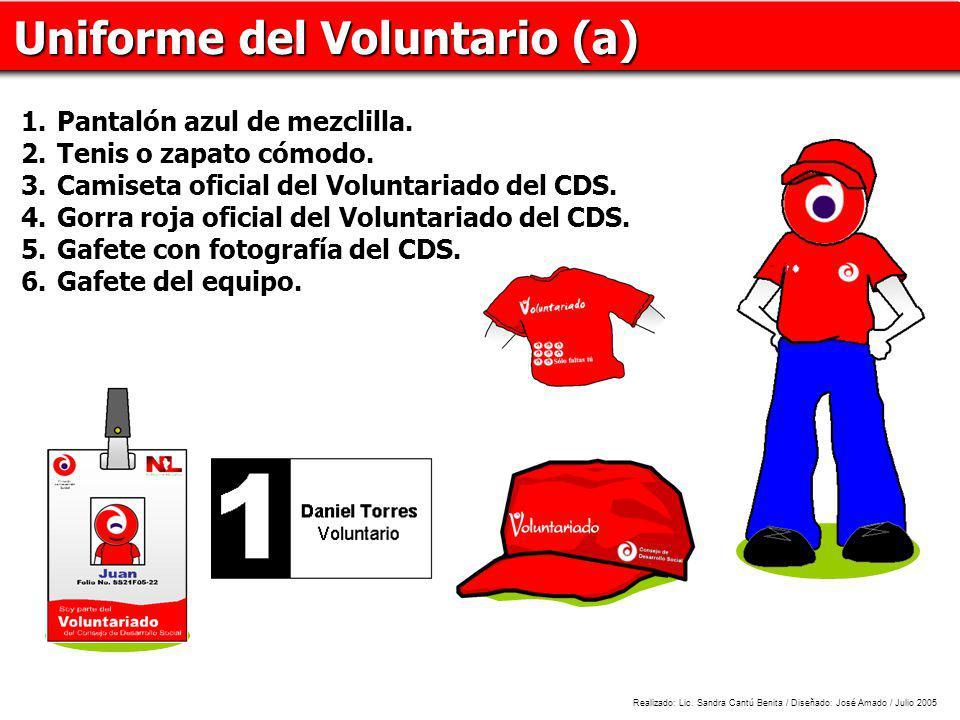 Uniforme del Voluntario (a) 1.Pantalón azul de mezclilla. 2.Tenis o zapato cómodo. 3.Camiseta oficial del Voluntariado del CDS. 4.Gorra roja oficial d