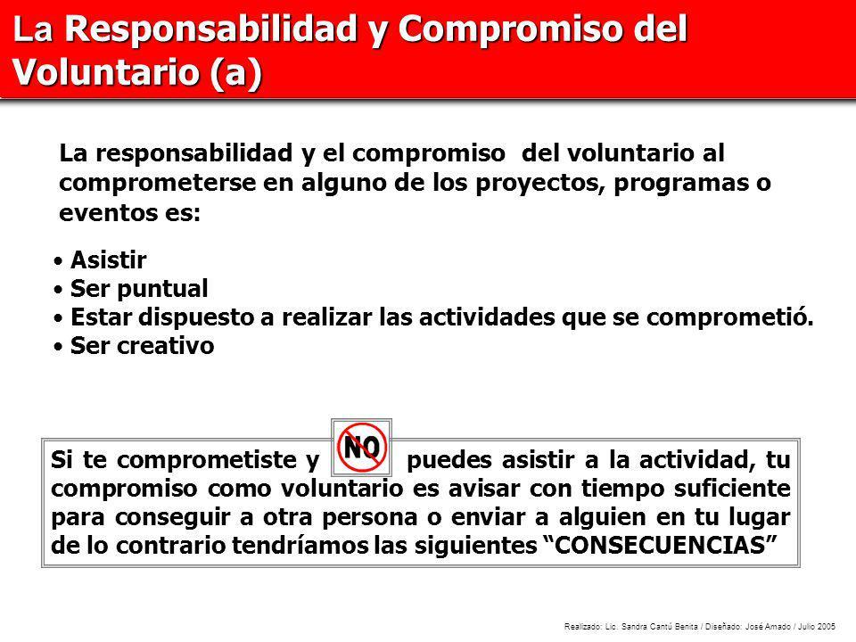La Responsabilidad y Compromiso del Voluntario (a) Si te comprometiste y puedes asistir a la actividad, tu compromiso como voluntario es avisar con ti