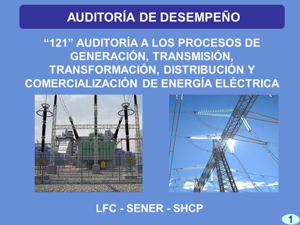 1 1 121 AUDITORÍA A LOS PROCESOS DE GENERACIÓN, TRANSMISIÓN, TRANSFORMACIÓN, DISTRIBUCIÓN Y COMERCIALIZACIÓN DE ENERGÍA ELÉCTRICA LFC - SENER - SHCP AUDITORÍA DE DESEMPEÑO