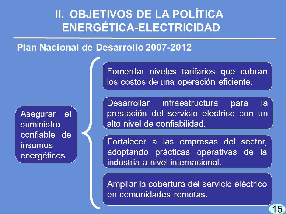 15 Plan Nacional de Desarrollo 2007-2012 Fomentar niveles tarifarios que cubran los costos de una operación eficiente.