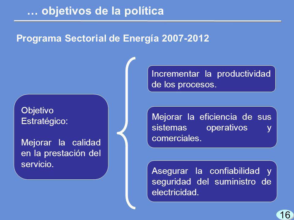 16 Programa Sectorial de Energía 2007-2012 Objetivo Estratégico: Mejorar la calidad en la prestación del servicio.