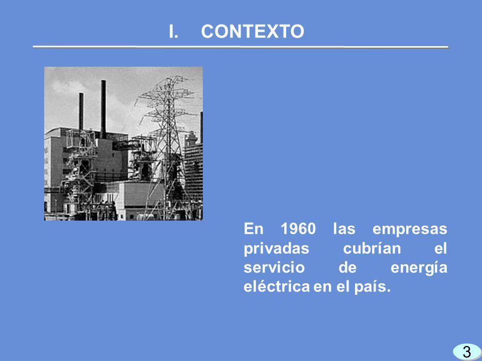 3 3 I.CONTEXTO En 1960 las empresas privadas cubrían el servicio de energía eléctrica en el país.
