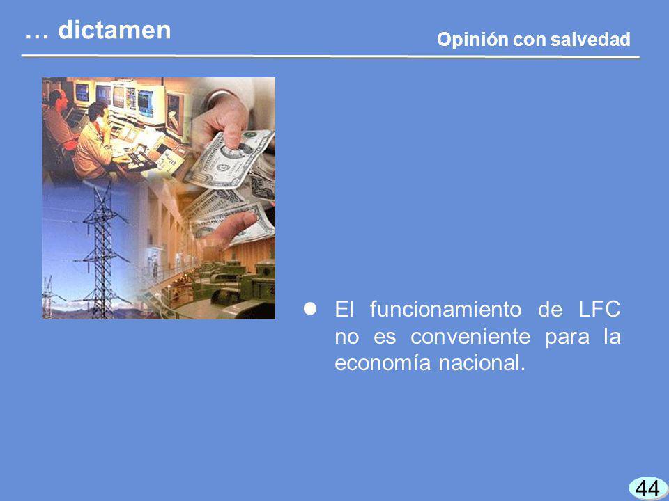 44 El funcionamiento de LFC no es conveniente para la economía nacional.