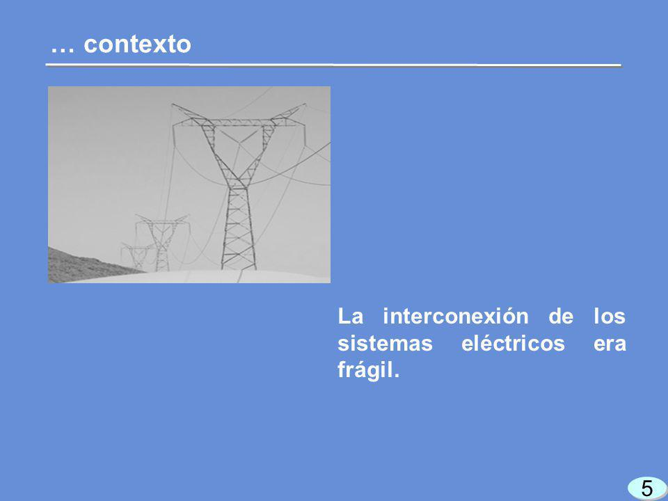 5 5 La interconexión de los sistemas eléctricos era frágil. … contexto