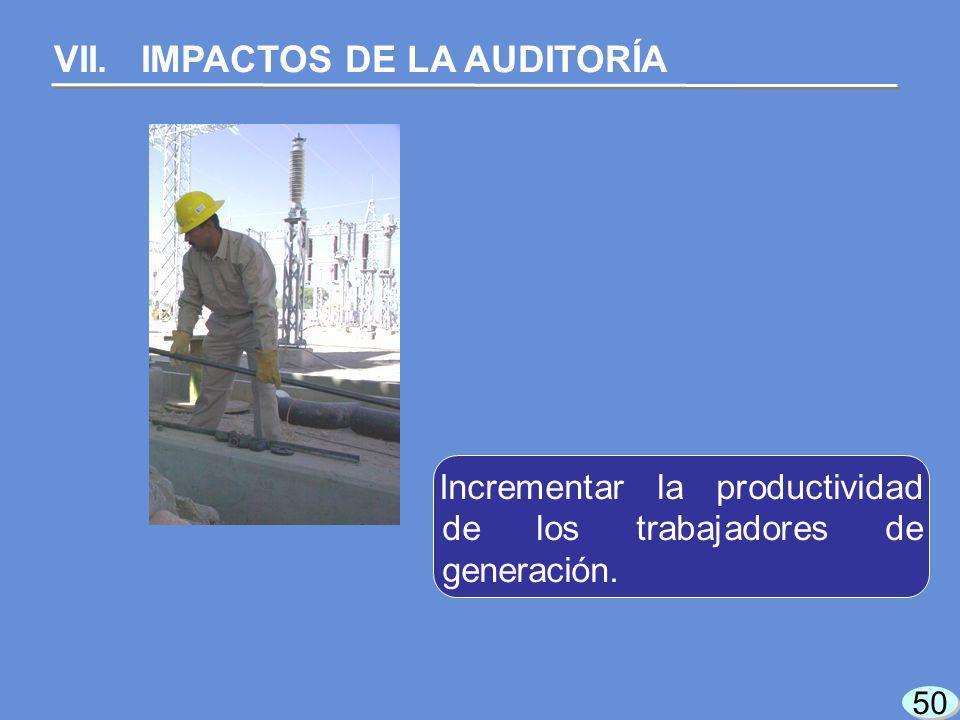 50 VII. IMPACTOS DE LA AUDITORÍA Incrementar la productividad de los trabajadores de generación.