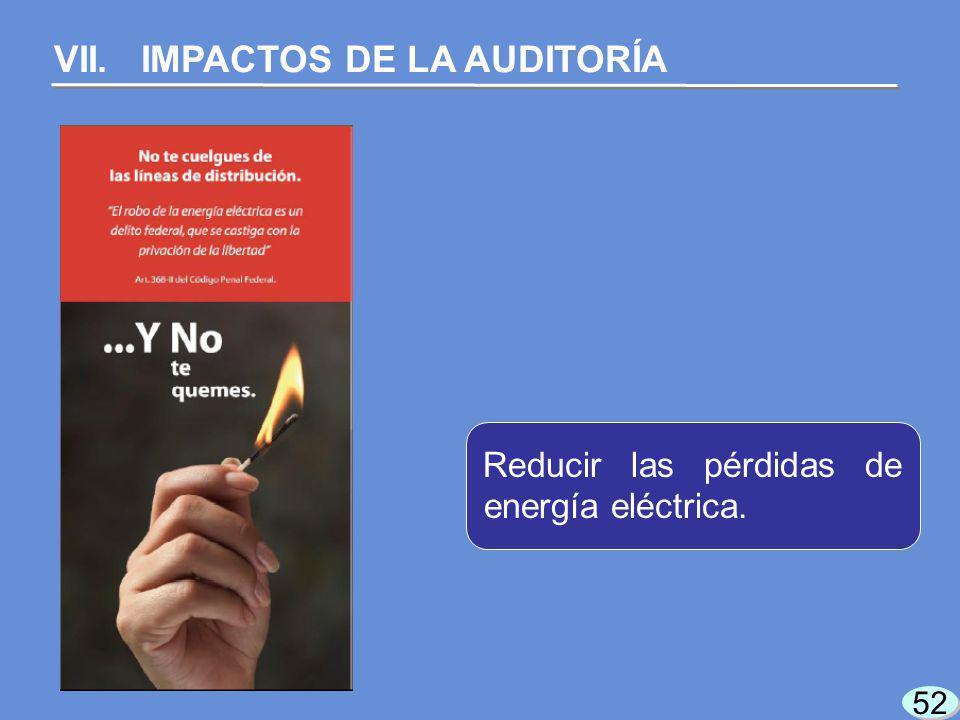 52 VII. IMPACTOS DE LA AUDITORÍA Reducir las pérdidas de energía eléctrica.