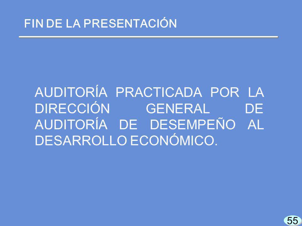 AUDITORÍA PRACTICADA POR LA DIRECCIÓN GENERAL DE AUDITORÍA DE DESEMPEÑO AL DESARROLLO ECONÓMICO.