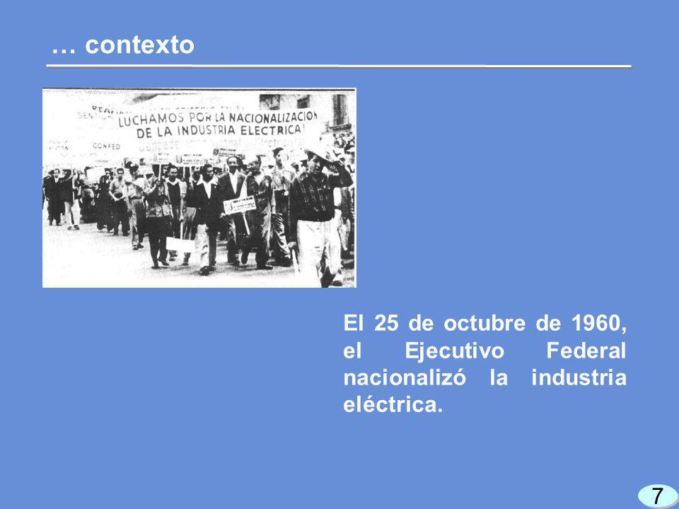 8 8 La nacionalización de la industria eléctrica tenia como objetivos: … contexto Beneficio social Atender la creciente demanda de electricidad