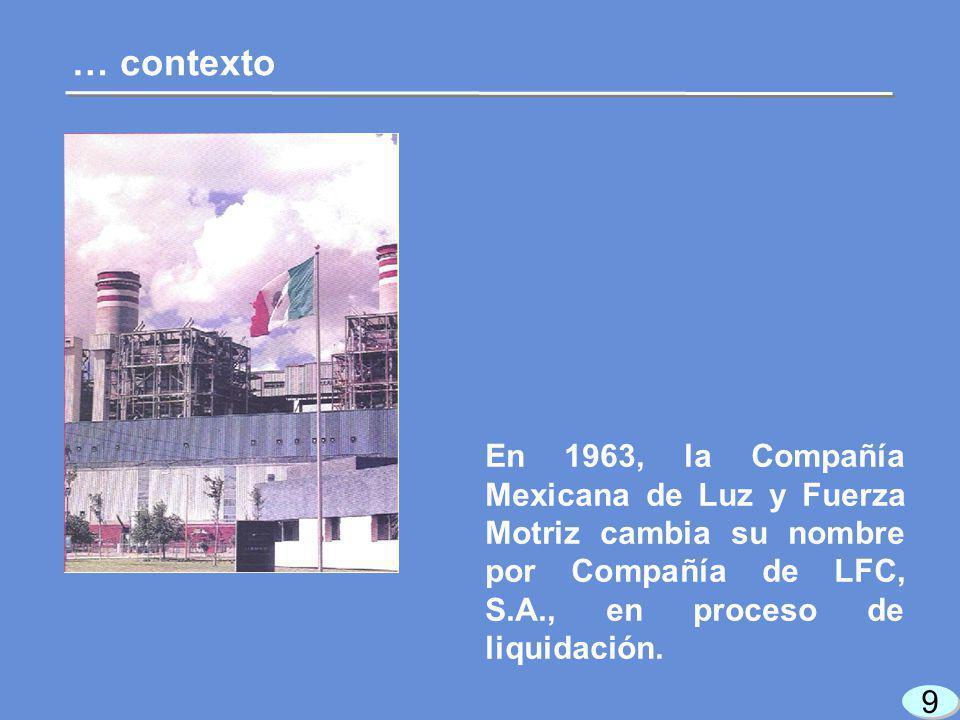 9 9 … contexto En 1963, la Compañía Mexicana de Luz y Fuerza Motriz cambia su nombre por Compañía de LFC, S.A., en proceso de liquidación.