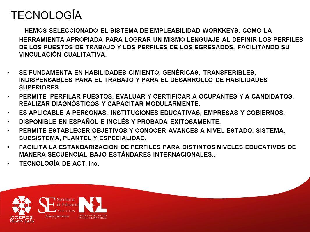 TECNOLOGÍA HEMOS SELECCIONADO EL SISTEMA DE EMPLEABILIDAD WORKKEYS, COMO LA HERRAMIENTA APROPIADA PARA LOGRAR UN MISMO LENGUAJE AL DEFINIR LOS PERFILES DE LOS PUESTOS DE TRABAJO Y LOS PERFILES DE LOS EGRESADOS, FACILITANDO SU VINCULACIÓN CUALITATIVA.