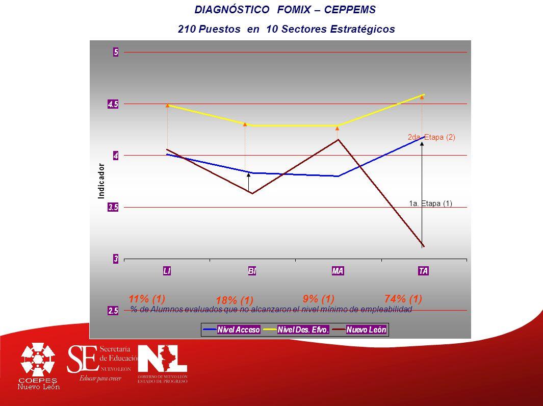 DIAGNÓSTICO FOMIX – CEPPEMS 210 Puestos en 10 Sectores Estratégicos 2da.