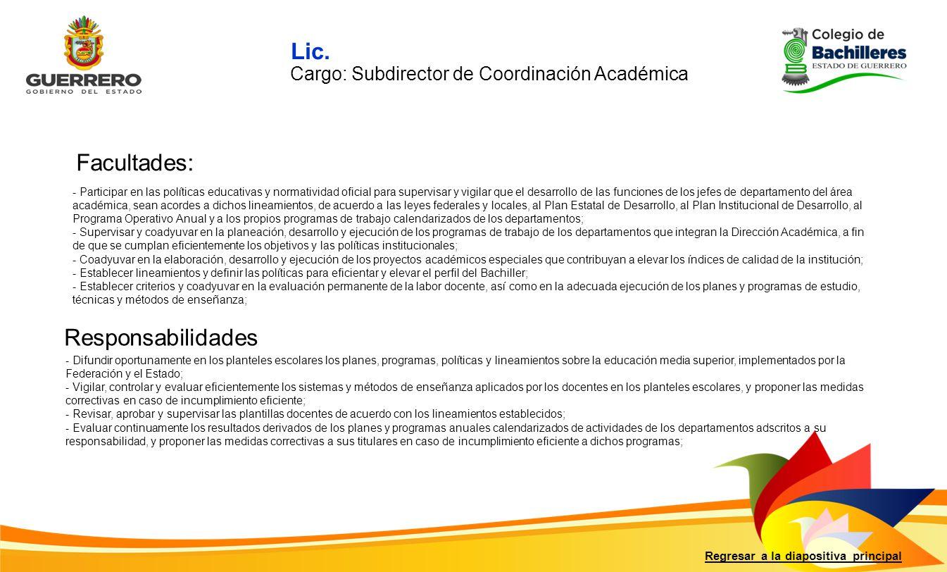 Facultades: Responsabilidades Regresar a la diapositiva principal - Participar en las políticas educativas y normatividad oficial para supervisar y vi