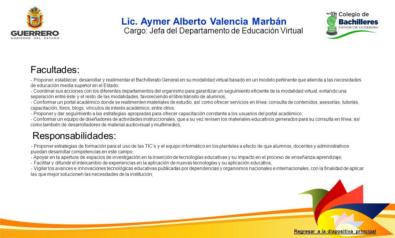 Facultades: Responsabilidades: Regresar a la diapositiva principal - Proponer estrategias de formación para el uso de las TICs y el equipo informático