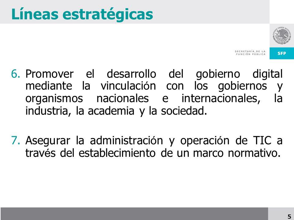 5 Líneas estratégicas 6.Promover el desarrollo del gobierno digital mediante la vinculaci ó n con los gobiernos y organismos nacionales e internacionales, la industria, la academia y la sociedad.