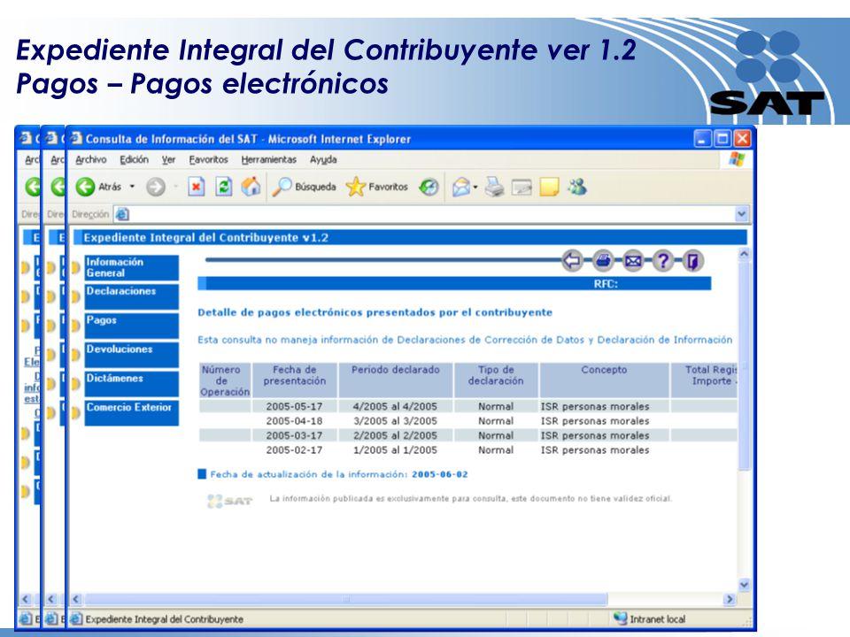 Expediente Integral del Contribuyente ver 1.2 Pagos – Pagos electrónicos