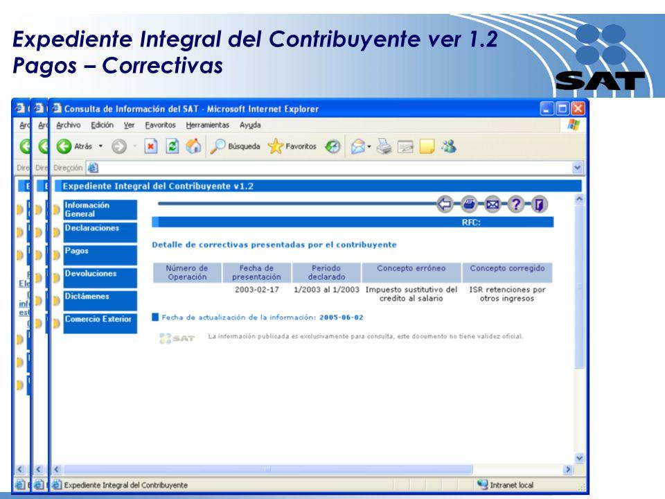 Expediente Integral del Contribuyente ver 1.2 Pagos – Correctivas