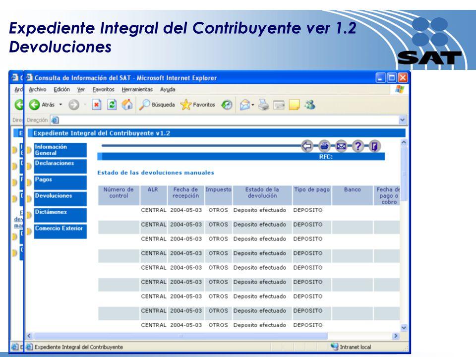 Expediente Integral del Contribuyente ver 1.2 Devoluciones