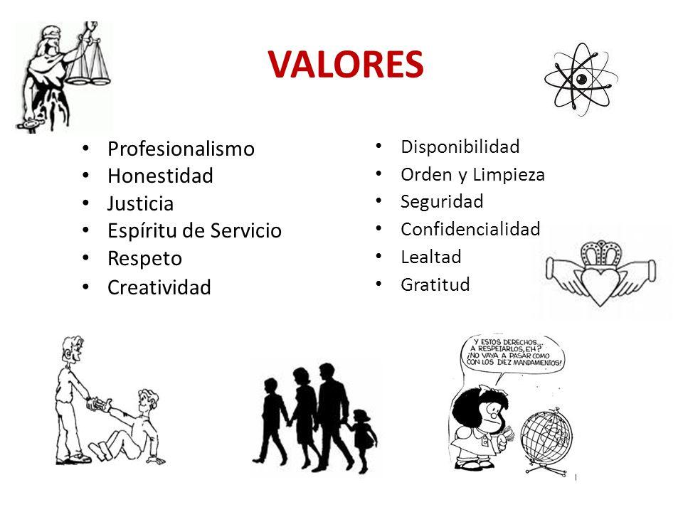 VALORES Profesionalismo Honestidad Justicia Espíritu de Servicio Respeto Creatividad Disponibilidad Orden y Limpieza Seguridad Confidencialidad Lealta