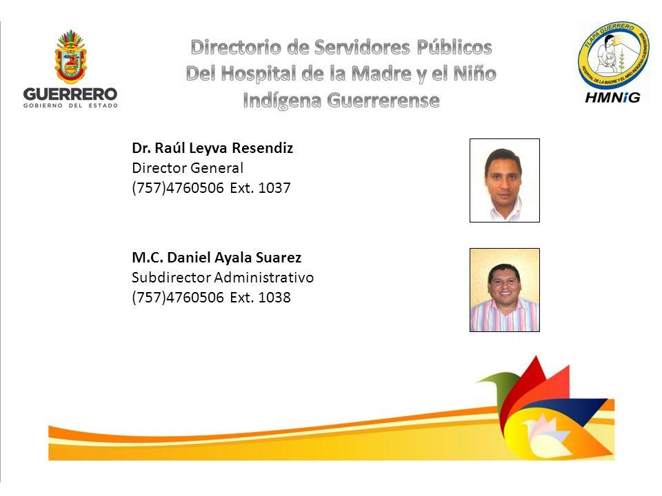 Dr. Raúl Leyva Resendiz Director General (757)4760506 Ext. 1037 M.C. Daniel Ayala Suarez Subdirector Administrativo (757)4760506 Ext. 1038