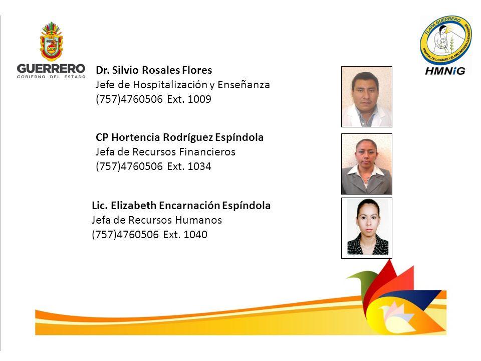 Dr. Silvio Rosales Flores Jefe de Hospitalización y Enseñanza (757)4760506 Ext. 1009 CP Hortencia Rodríguez Espíndola Jefa de Recursos Financieros (75