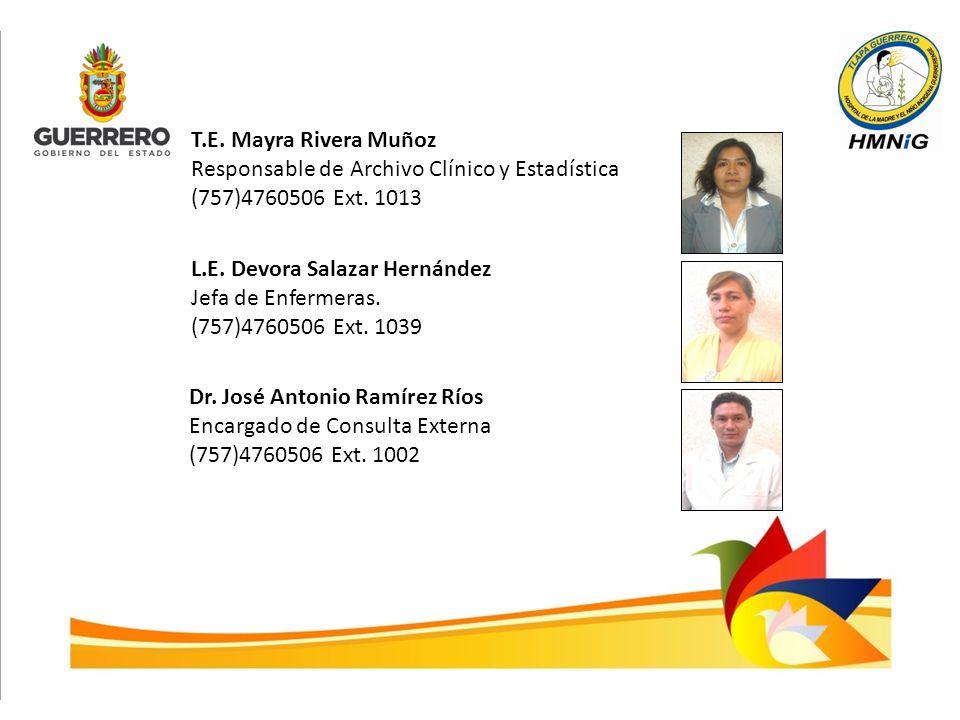 T.E. Mayra Rivera Muñoz Responsable de Archivo Clínico y Estadística (757)4760506 Ext. 1013 L.E. Devora Salazar Hernández Jefa de Enfermeras. (757)476