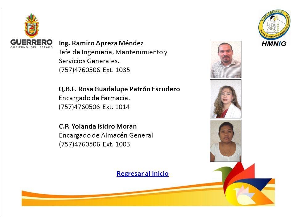 Ing. Ramiro Apreza Méndez Jefe de Ingeniería, Mantenimiento y Servicios Generales. (757)4760506 Ext. 1035 Q.B.F. Rosa Guadalupe Patrón Escudero Encarg