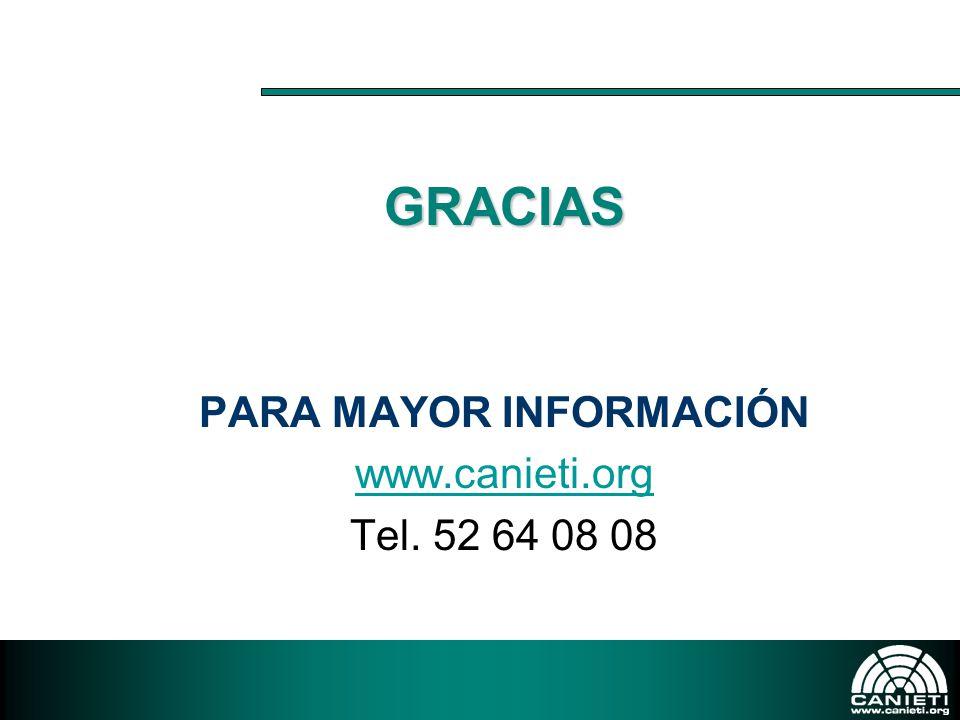 GRACIAS PARA MAYOR INFORMACIÓN www.canieti.org Tel. 52 64 08 08