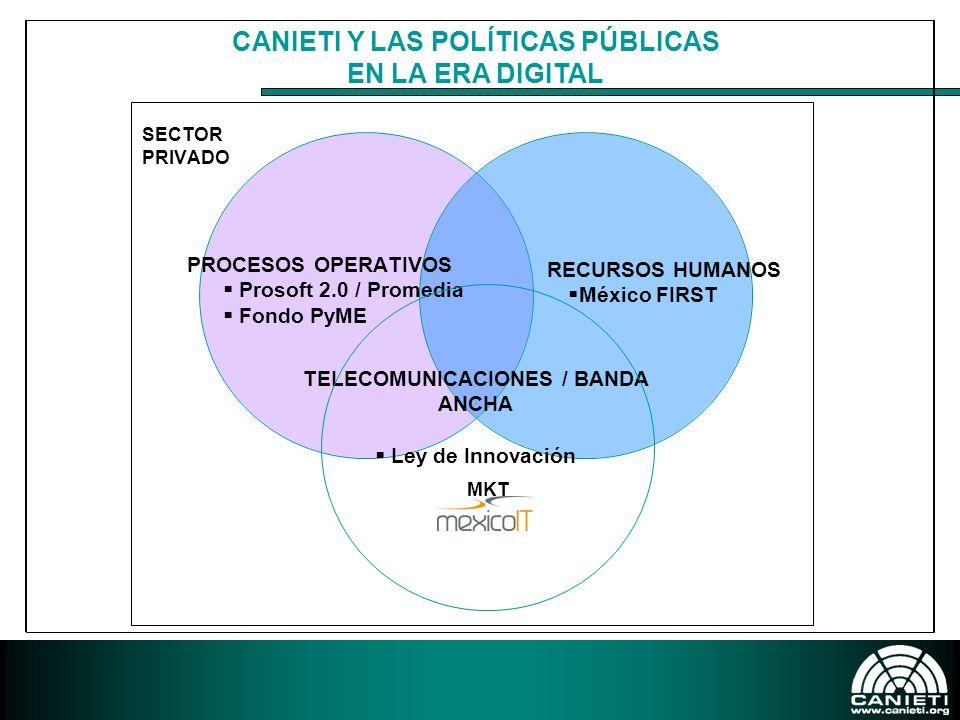 PROSOFT – POLÍTICA PÚBLICA Exportaciones e inversionesCapital HumanoMarco LegalMercado Interno de TIIndustria LocalCalidadAgrupamientos Empresariales Lograr una producción anual de 15,000 millones de dólares de TI y servicios relacionados Alcanzar el promedio mundial de gasto en tecnologías de información Convertir a México en el líder latinoamericano de TI ESTRATEGIASMETAS 2013OBJETIVO PRINCIPAL
