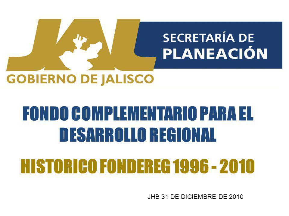FONDO COMPLEMENTARIO PARA EL DESARROLLO REGIONAL HISTORICO FONDEREG 1996 - 2010 JHB 31 DE DICIEMBRE DE 2010