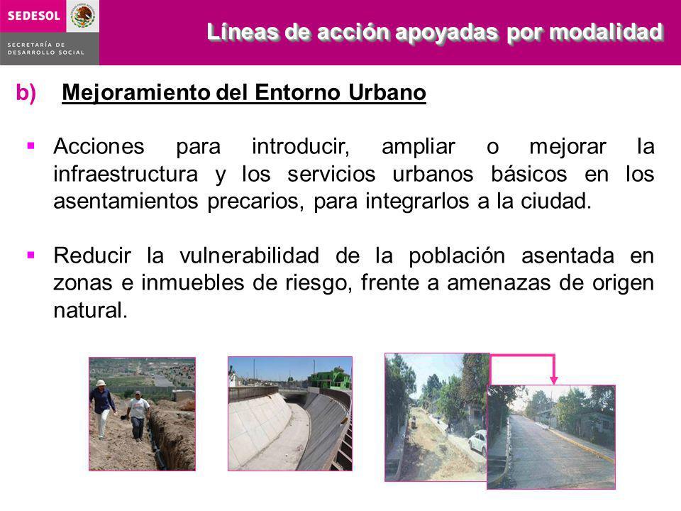 b) Mejoramiento del Entorno Urbano Acciones para introducir, ampliar o mejorar la infraestructura y los servicios urbanos básicos en los asentamientos precarios, para integrarlos a la ciudad.