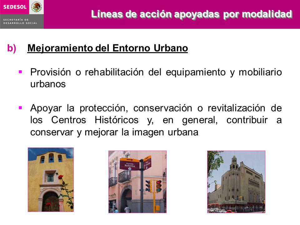 Provisión o rehabilitación del equipamiento y mobiliario urbanos Apoyar la protección, conservación o revitalización de los Centros Históricos y, en g