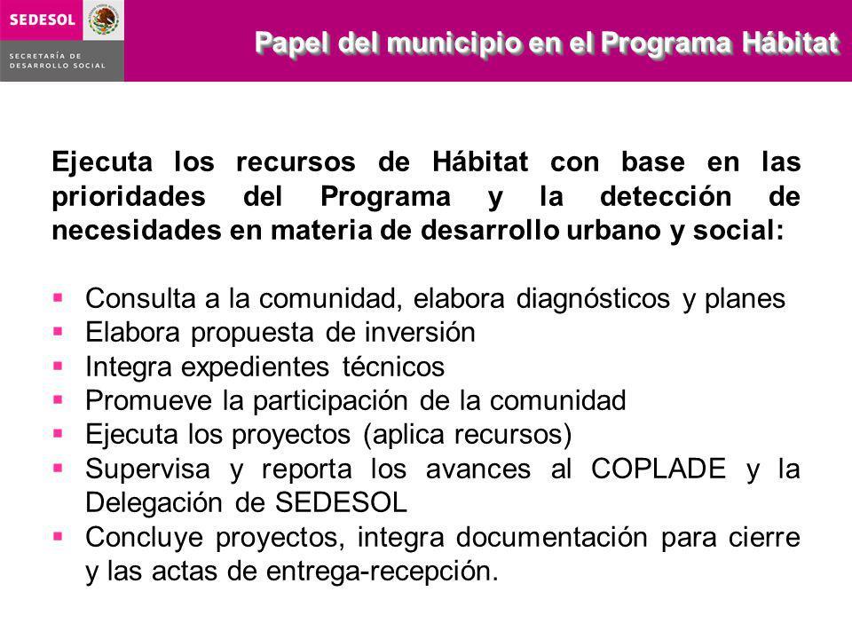Ejecuta los recursos de Hábitat con base en las prioridades del Programa y la detección de necesidades en materia de desarrollo urbano y social: Consu