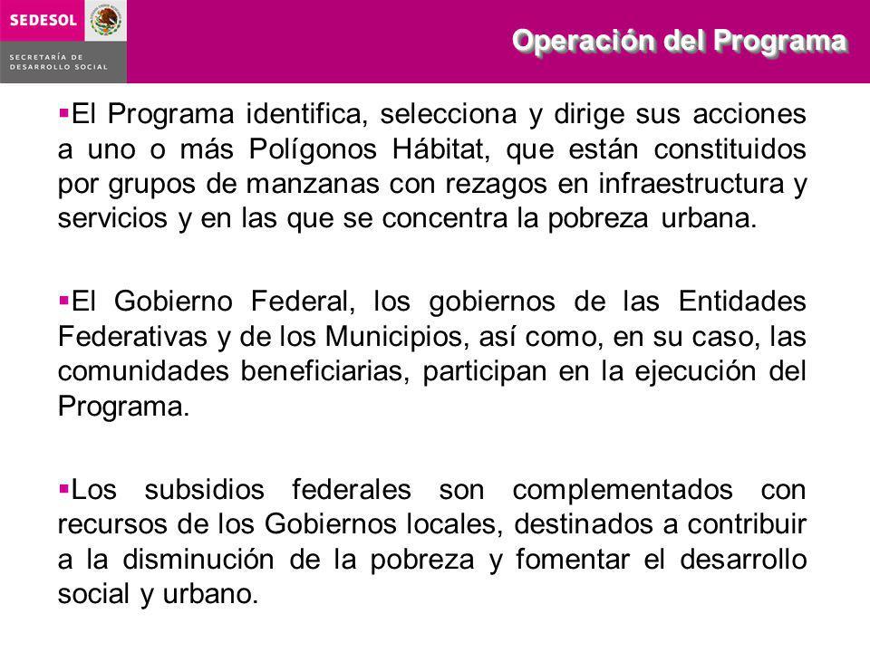 Operación del Programa El Programa identifica, selecciona y dirige sus acciones a uno o más Polígonos Hábitat, que están constituidos por grupos de manzanas con rezagos en infraestructura y servicios y en las que se concentra la pobreza urbana.