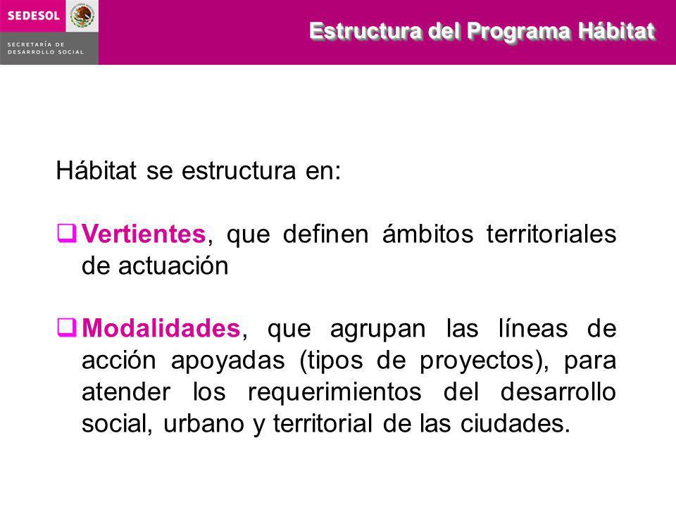 Hábitat se estructura en: Vertientes, que definen ámbitos territoriales de actuación Modalidades, que agrupan las líneas de acción apoyadas (tipos de proyectos), para atender los requerimientos del desarrollo social, urbano y territorial de las ciudades.