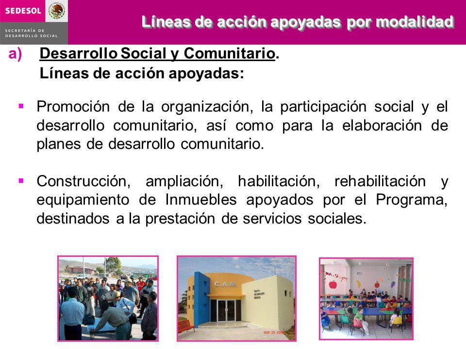 a)Desarrollo Social y Comunitario. Líneas de acción apoyadas: Líneas de acción apoyadas por modalidad Promoción de la organización, la participación s