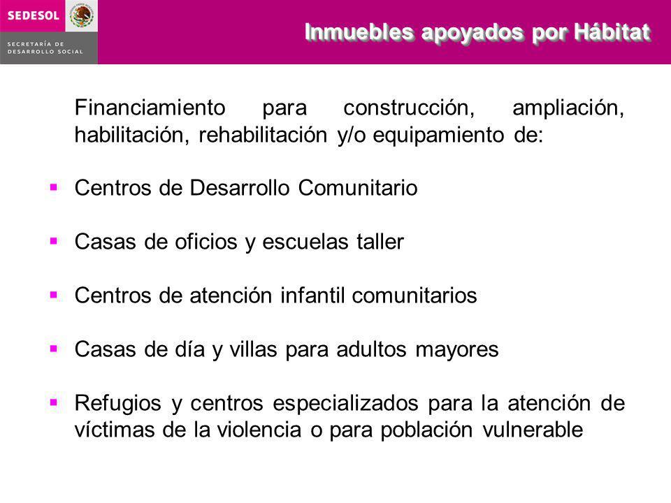Financiamiento para construcción, ampliación, habilitación, rehabilitación y/o equipamiento de: Centros de Desarrollo Comunitario Casas de oficios y e