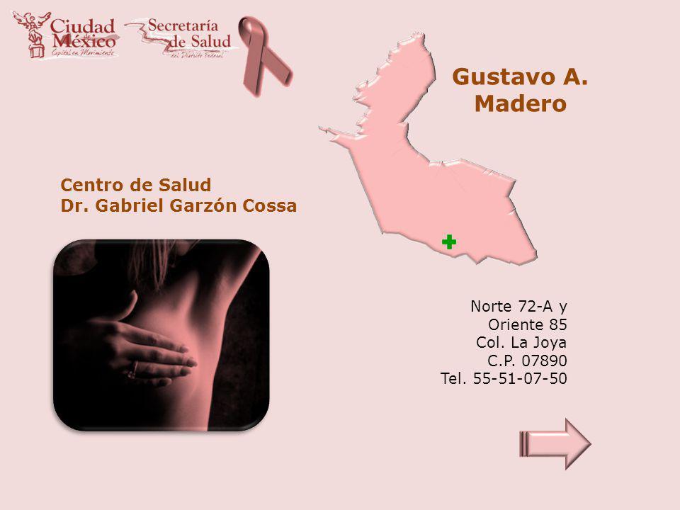 Gustavo A. Madero Centro de Salud Dr. Gabriel Garzón Cossa Norte 72-A y Oriente 85 Col. La Joya C.P. 07890 Tel. 55-51-07-50