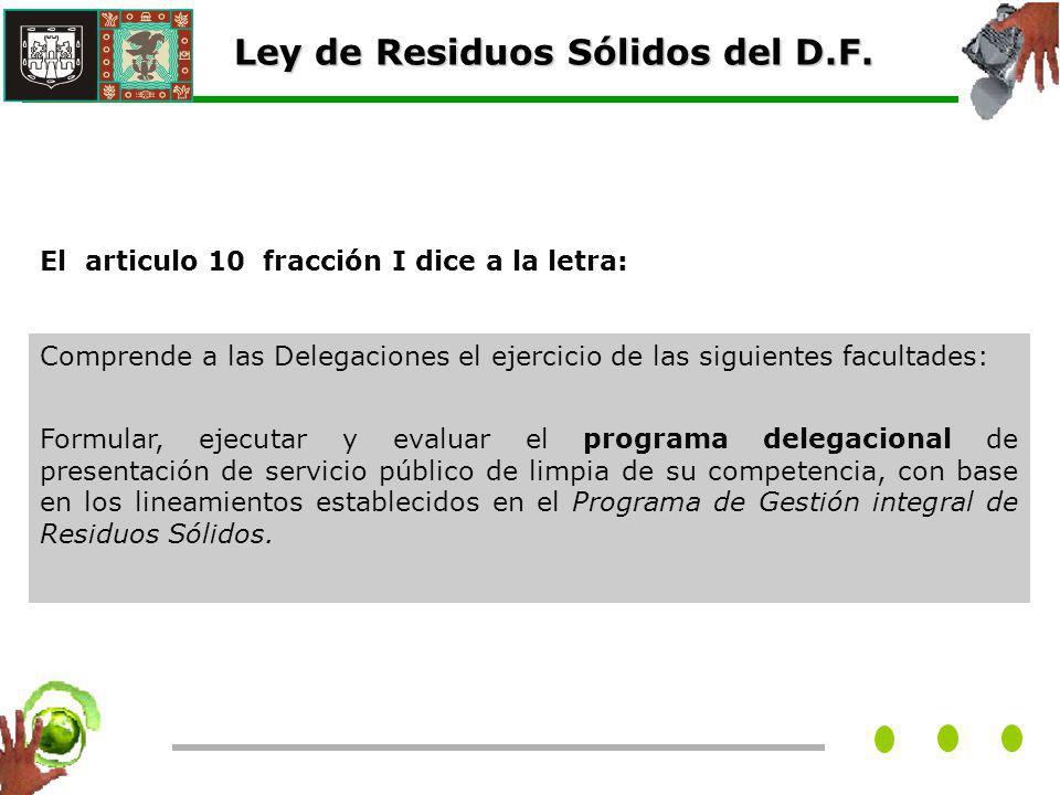 El articulo 10 fracción I dice a la letra: Ley de Residuos Sólidos del D.F.