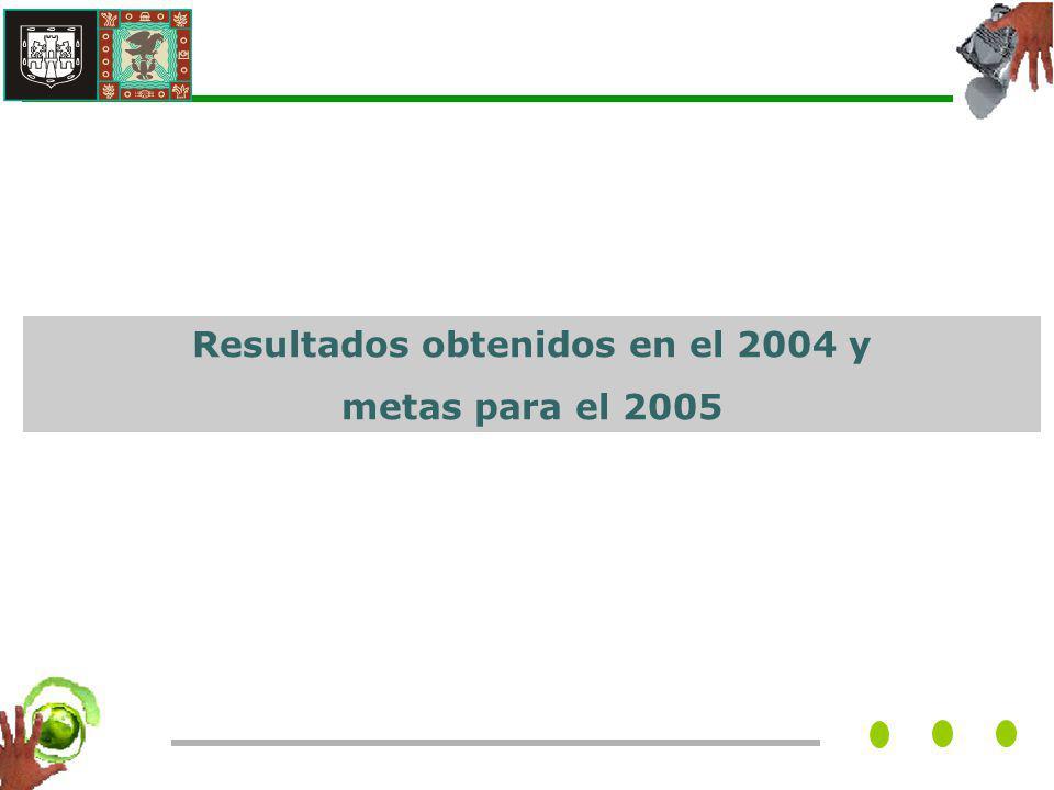 Resultados obtenidos en el 2004 y metas para el 2005