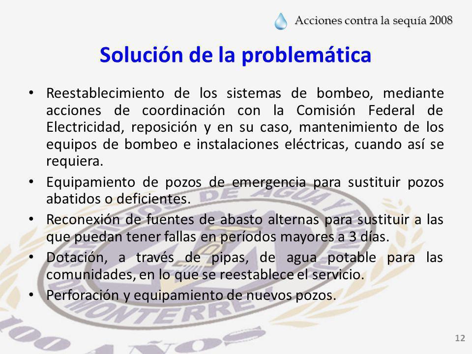 Acciones contra la sequía 2008 12 Solución de la problemática Reestablecimiento de los sistemas de bombeo, mediante acciones de coordinación con la Comisión Federal de Electricidad, reposición y en su caso, mantenimiento de los equipos de bombeo e instalaciones eléctricas, cuando así se requiera.