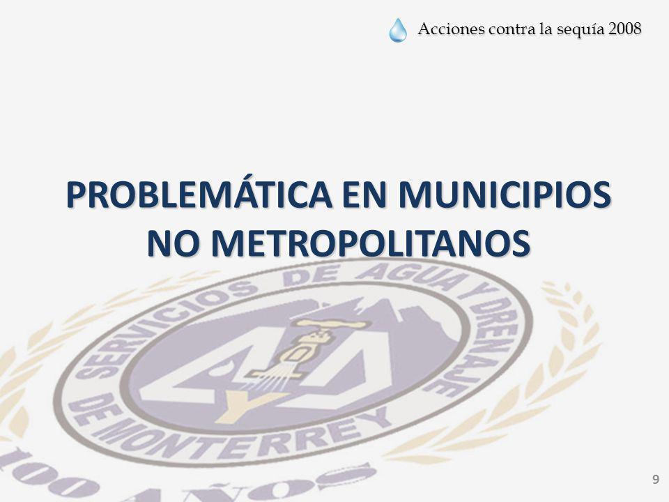 Acciones contra la sequía 2008 9 PROBLEMÁTICA EN MUNICIPIOS NO METROPOLITANOS