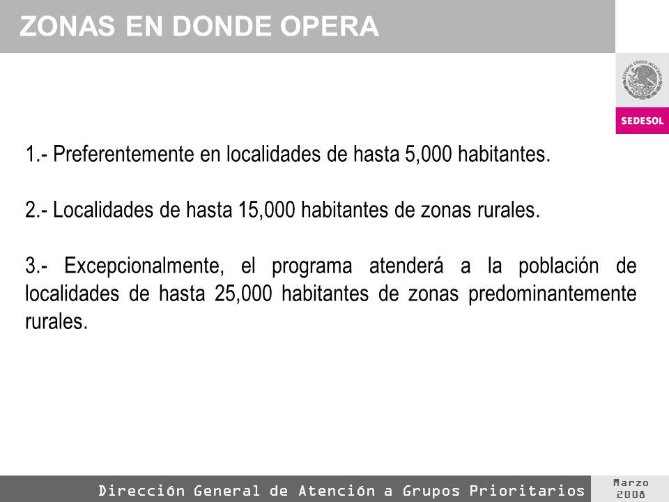 Marzo 2008 Dirección General de Atención a Grupos Prioritarios 1.- Preferentemente en localidades de hasta 5,000 habitantes.