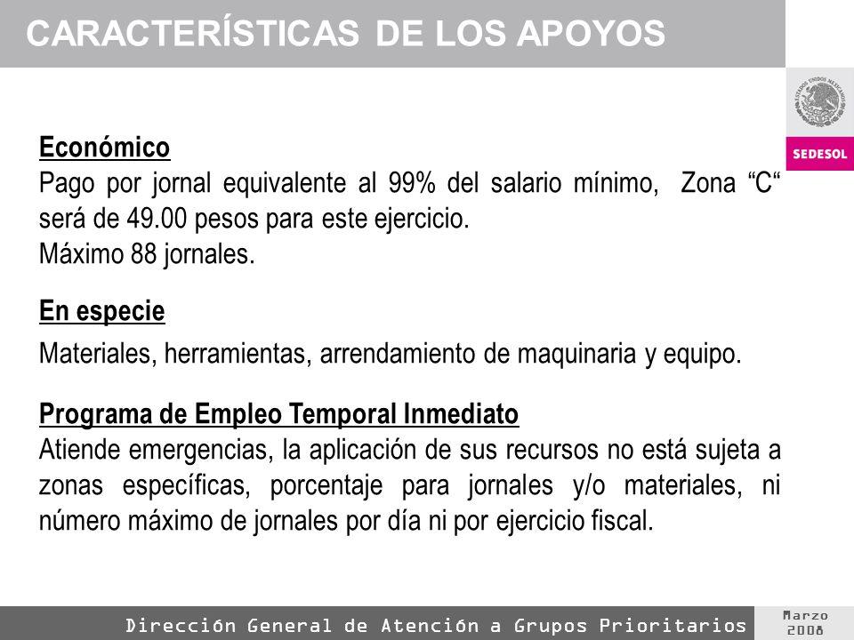 Marzo 2008 Dirección General de Atención a Grupos Prioritarios CARACTERÍSTICAS DE LOS APOYOS Económico Pago por jornal equivalente al 99% del salario mínimo, Zona C será de 49.00 pesos para este ejercicio.
