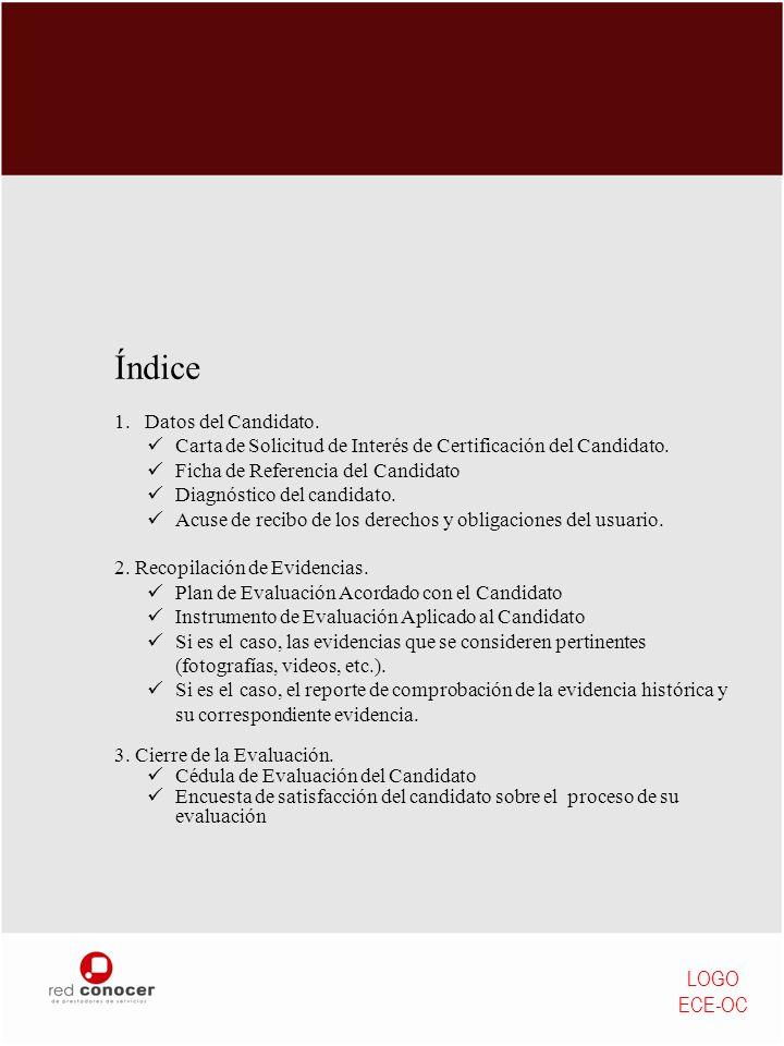 Índice 1.Datos del Candidato. Carta de Solicitud de Interés de Certificación del Candidato. Ficha de Referencia del Candidato Diagnóstico del candidat
