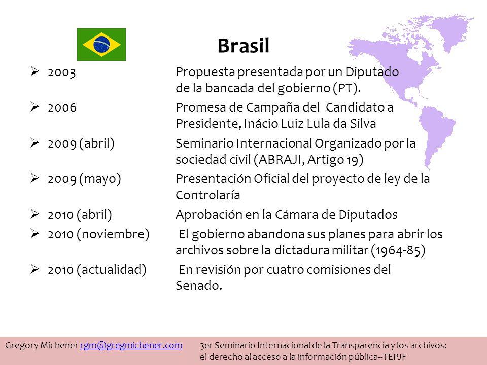 Brasil 2003 Propuesta presentada por un Diputado de la bancada del gobierno (PT).