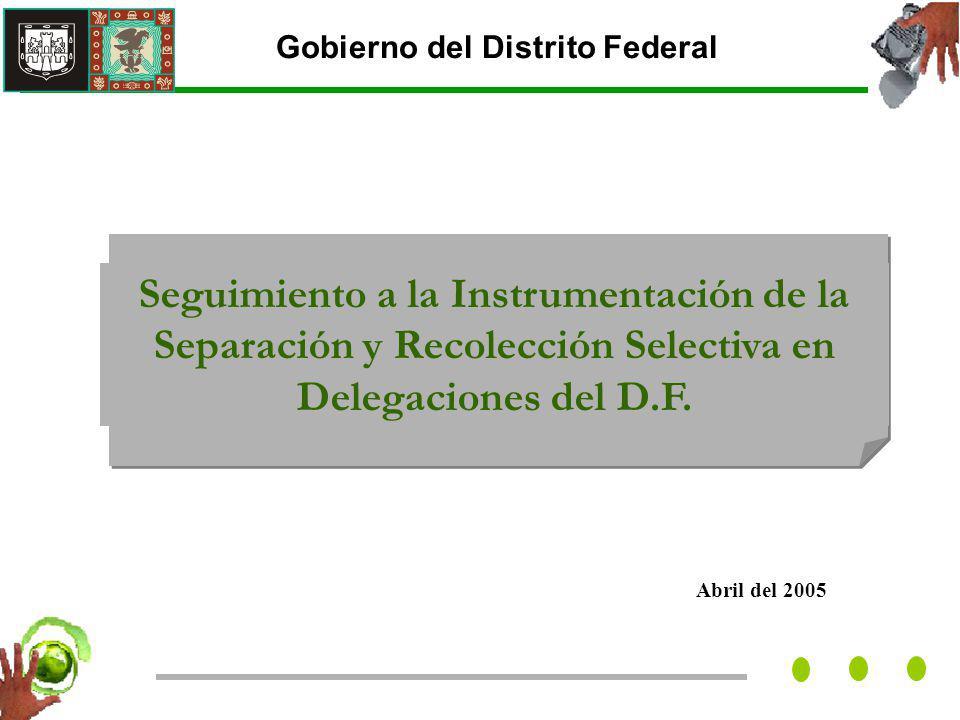 Abril del 2005 Gobierno del Distrito Federal Seguimiento a la Instrumentación de la Separación y Recolección Selectiva en Delegaciones del D.F.