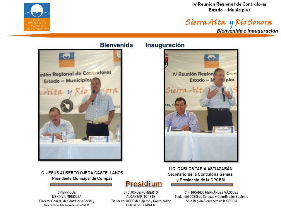 Bienvenida e Inauguración LIC. CARLOS TAPIA ASTIAZARÁN Secretario de la Contraloría General y Presidente de la CPCEM C. JESÚS ALBERTO OJEDA CASTELLANO