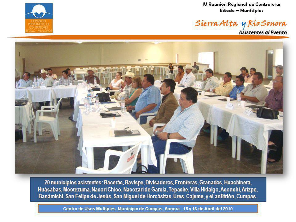 Asistentes al Evento 20 municipios asistentes: Bacerác, Bavispe, Divisaderos, Fronteras, Granados, Huachinera, Huásabas, Moctezuma, Nacori Chico, Naco